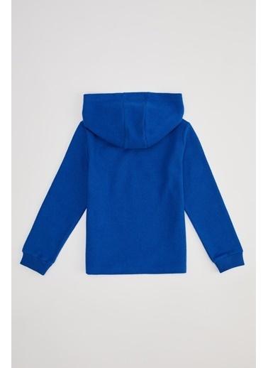 DeFacto Kız Çocuk Baskılı Kapüşonlu Sweatshirt Mavi
